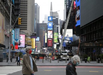 Pedestrians and Automobile Traffic in Times Square