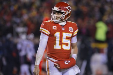 Chiefs' Patrick Mahomes walks to the sideline in the AFC Championship