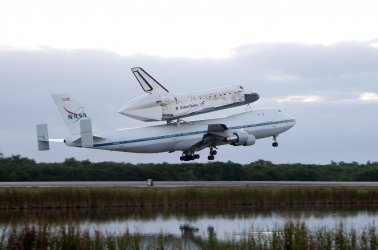 """NASA's Space Shuttle """"Discovery"""" departs the Kennedy Space Center for the Smithsonian Museum"""