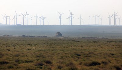 Wind and solar power is generated in the Taiyangshan Development Zone