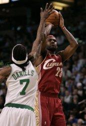 Cavaliers James shoots against Celtics in Boston, MA.