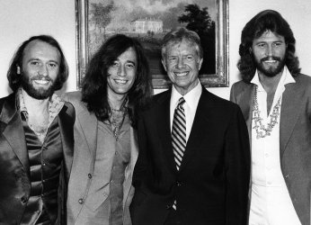 The Bee Gees visit with Pres. Jimmy Carter