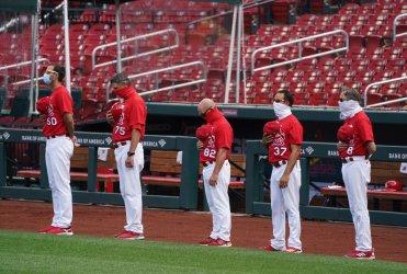 St. Louis Cardinals Line Up For National Anthem