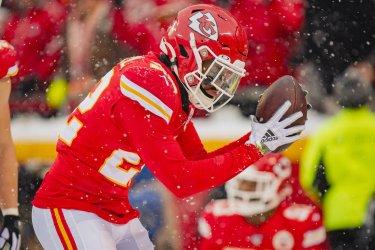 Chiefs' Juan Thornhill celebrates after intercepting a Denver Broncos pass
