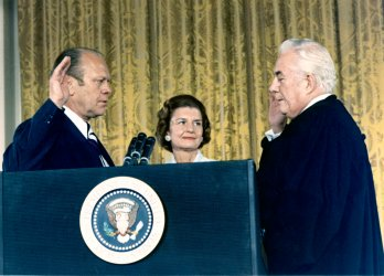 Gerald Ford is sworn in as President of the United States