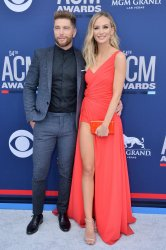 Chris Lane and Lauren Bushnell attend the Academy of Country Music Awards in Las Vegas