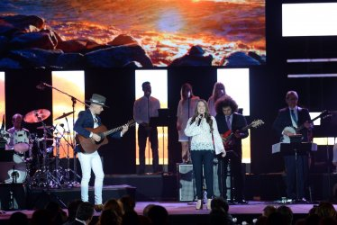 Jesse Huerta and Joy Huerta perform at the Person of the Year tribute in Las Vegas
