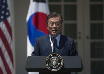 President Moon Jae-in and President Donald Trump make a joint statement