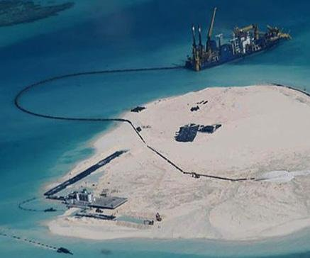 U.S. Navy commander says China's artificial islands violate international law