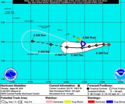 Madeline strengthens into Category 4 hurricane, heads toward Hawaii