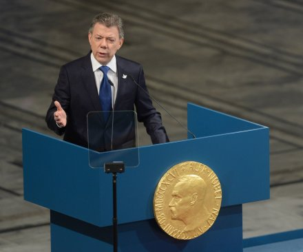 Colombian president accepts 2016 Nobel Peace Prize for FARC peace accord