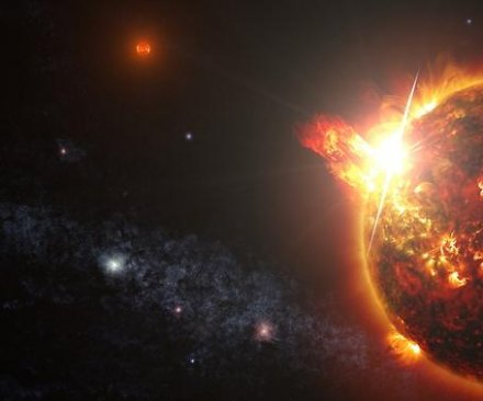 Mini star ejects mega flares