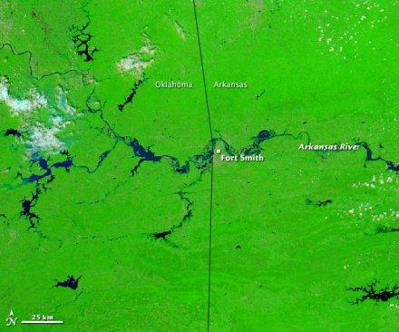 Flooding Arkansas River imaged by NASA's Aqua satellite