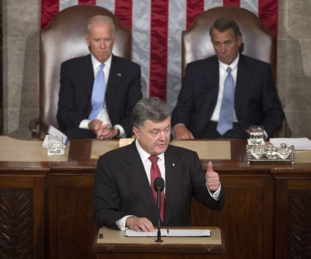 Ukraine's Poroshenko asks U.S. Congress for lethal aid at joint session