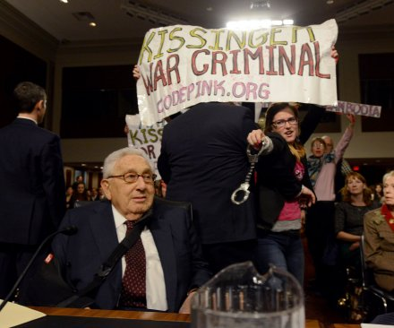 Henry Kissinger testifies in Congress, faces protesters