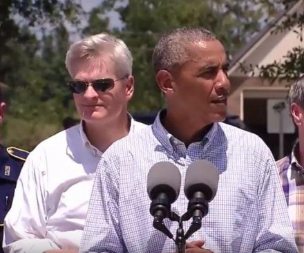 Obama says gov't working to repair flood-damaged Louisiana, not worried about criticisms