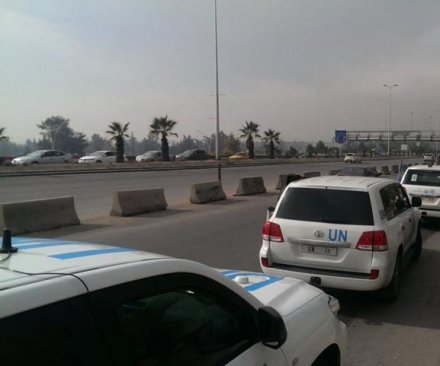 Aid convoy en route to Syrian town