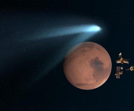 Three Mars probes hide behind planet, avoid comet debris