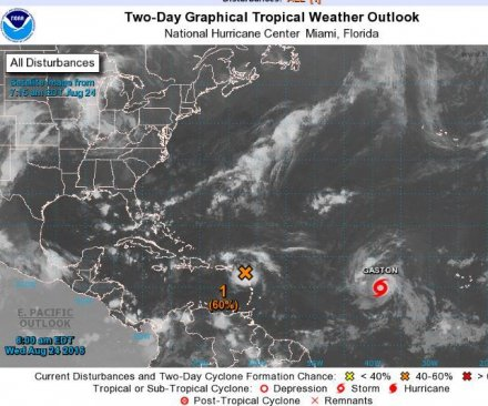 Gaston expected to become hurricane Wednesday; disturbance strengthens