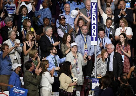 Sanders emerges at end of DNC roll call to give Clinton Democratic nomination