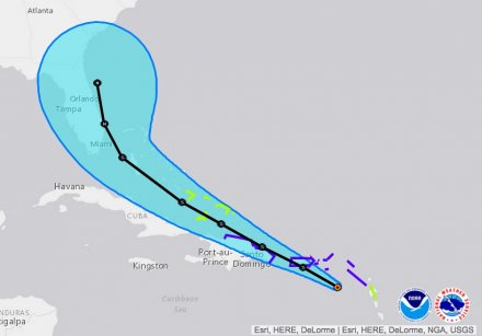 Tropical Storm Erika's forecast track shifts toward Hispaniola, Florida