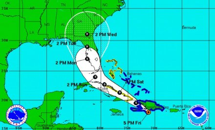 Tropical Storm Erika moves over Dominican Republic