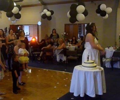 Bouquet-seeking wedding guest drops baby