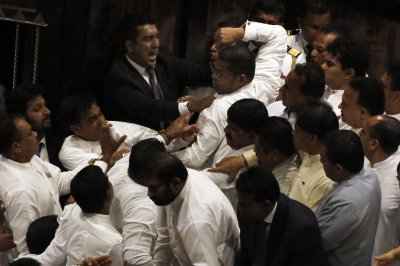 1 legislator hospitalized after Sri Lanka parliament brawl