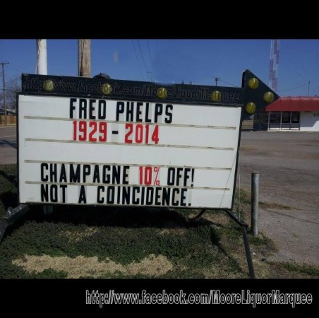 Westboro Baptist Church to picket Oklahoma liquor store over sign mocking Fred Phelps' death