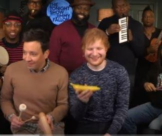 Ed Sheeran, Jimmy Fallon and The Roots perform 'Shape of You' with classroom instruments