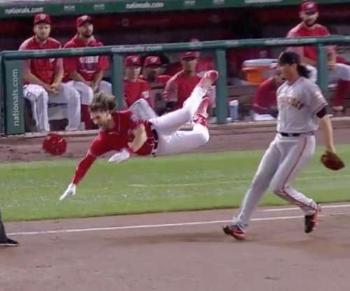 Washington Nationals' Bryce Harper suffers brutal injury after slipping on first base