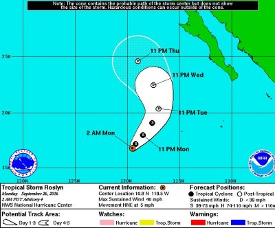 Tropical Storm Roslyn forms to become Pacific season's 17th named storm