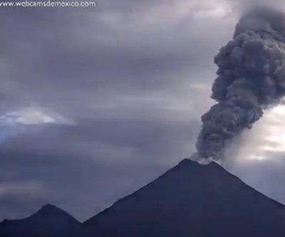 Mexico's volcano Colima erupts with plumes of smoke, ash