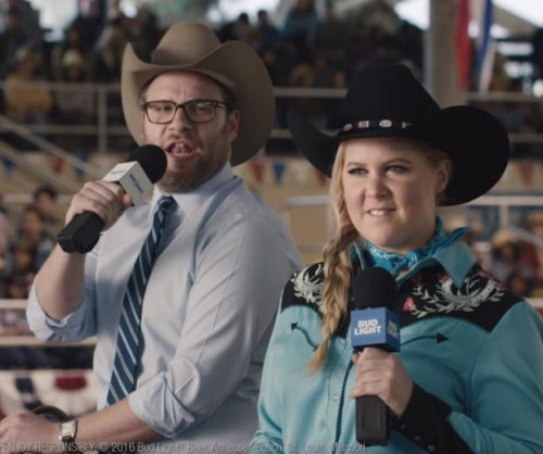Amy Schumer, Seth Rogen campaign for beer in Bud Light Super Bowl ad