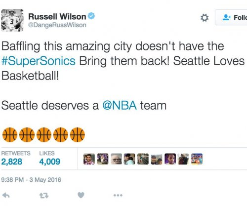 Russell Wilson calls for Seattle Sonics' NBA return