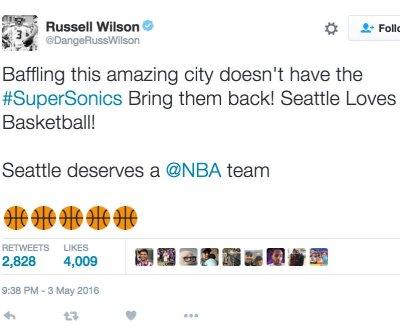 Russell Wilson calls for Seattle Sonics' NBA return