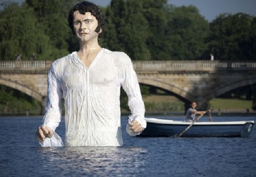 Enormous Colin Firth statue installed in London lake