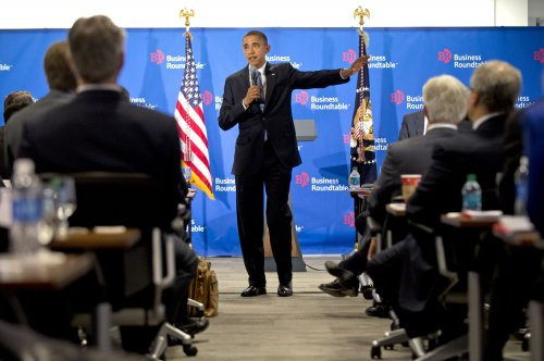 Obama pushes businessmen on tax hike