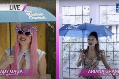 Lady Gaga, Ariana Grande play weather girls in 'Rain on Me' promo video