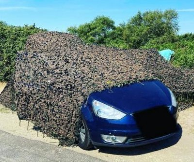 Car, illicit barbecue found hidden under camouflage material