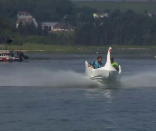 Amusement park swan finds new life as a speed boat