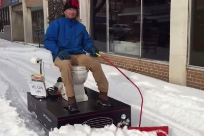 Maryland man plows snow with motorized toilet