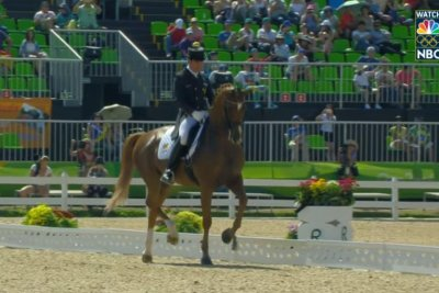 Olympic dressage competitor is crowd favorite with rendition of Santana and Rob Thomas' 'Smooth'