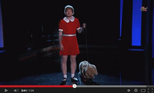 Watch Ed Sheeran spoof little orphan Annie on 'Jimmy Kimmel'