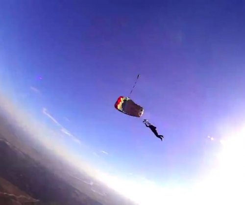 Camera dropped by skydiver keeps recording