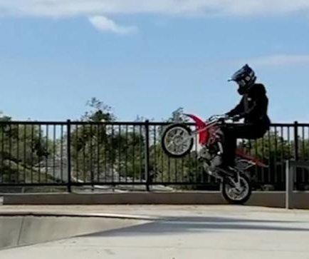 Dirt bikers make use of sand-covered skate park in California