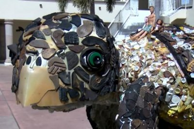 Watch: Sea turtle sculpture made from washed-up plastic trash