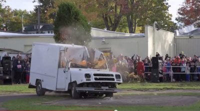 Video: Giant pumpkin drop destroys delivery truck