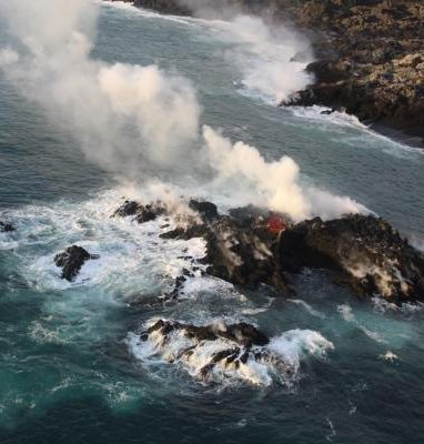 Lava from Mount Kilauea has formed small island of Hawaii