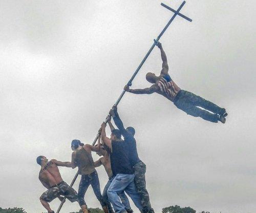 Bodybuilders recreate Iwo Jima photo with human flag